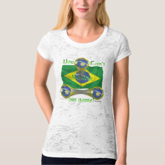 Brazil Soccer Game On Ladies Burnout T-Shirt
