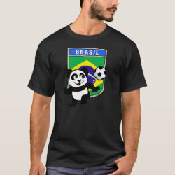 Men's Basic Dark T-Shirt with Brazil Football Panda design