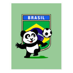 Postcard with Brazil Football Panda design