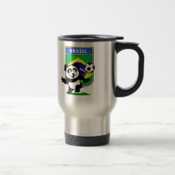 Travel / Commuter Mug with Brazil Football Panda design
