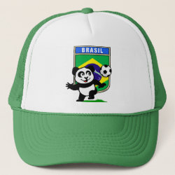 Brazil Football Panda Trucker Hat