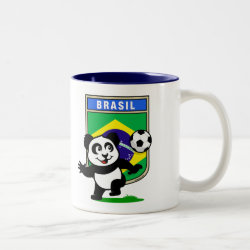 Two-Tone Mug with Brazil Football Panda design