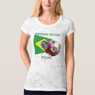 Brazil Soccer Power Ladies Burnout T-Shirt
