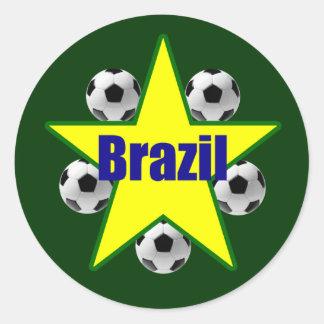 Brazil soccer stars 5soccer ball futebol fans gear classic round sticker