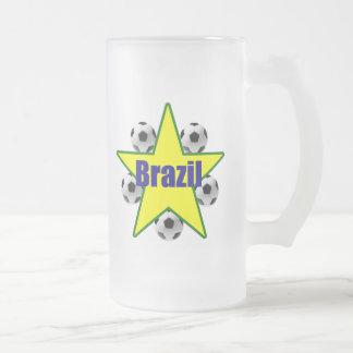 Brazil soccer stars 5soccer ball futebol fans gear frosted glass beer mug
