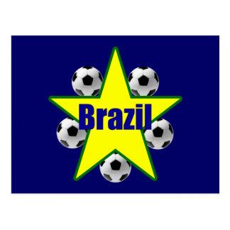 Brazil soccer stars 5soccer ball futebol fans gear postcard