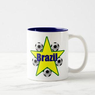 Brazil soccer stars 5soccer ball futebol fans gear Two-Tone coffee mug
