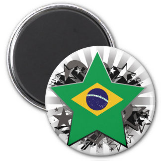 Brazil Star 2 Inch Round Magnet