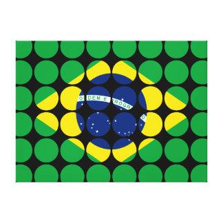 Brazil Stylish Girly Chic Polka Dot Brazilian Flag Gallery Wrap Canvas