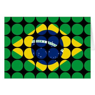 Brazil Stylish Girly Chic Polka Dot Brazilian Flag Greeting Card