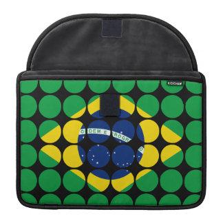 Brazil Stylish Girly Chic Polka Dot Brazilian Flag Sleeves For MacBook Pro