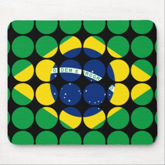 Brazil Stylish Girly Chic Polka Dot Brazilian Flag Mousepad
