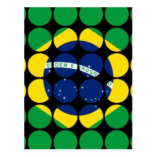 Brazil Stylish Girly Chic Polka Dot Brazilian Flag Post Cards