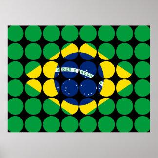 Brazil Stylish Girly Chic Polka Dot Brazilian Flag Posters