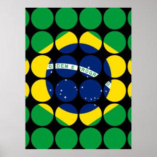 Brazil Stylish Girly Chic Polka Dot Brazilian Flag Poster