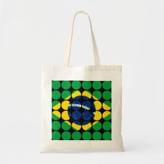 Brazil Stylish Girly Chic Polka Dot Brazilian Flag Tote Bag