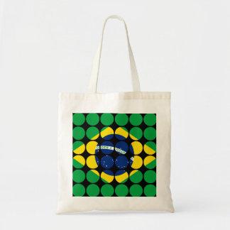 Brazil Stylish Girly Chic Polka Dot Brazilian Flag Tote Bag