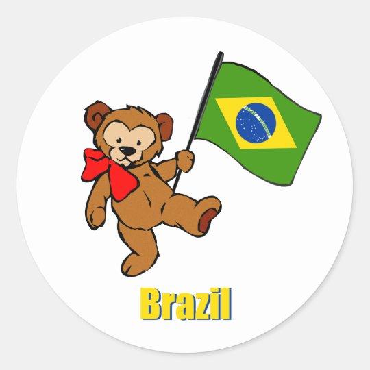 Brazil Teddy Bear Classic Round Sticker