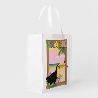 Brazil Toucan beach holiday poster Grocery Bag