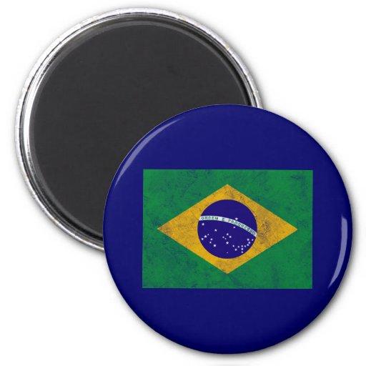 Brazil Vintage Flag 2 Inch Round Magnet