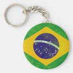 Brazil Vintage Flag Basic Round Button Keychain