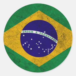 Brazil Vintage Flag Classic Round Sticker