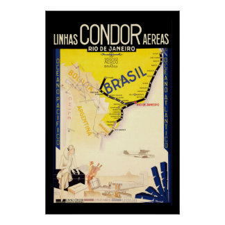 """Brazil"" Vintage Travel Poster"
