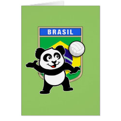 Note Card with Brazil Volleyball Panda design