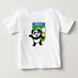 Baby Fine Jersey T-Shirt with Brazil Volleyball Panda design