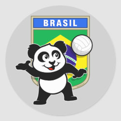 Brazil Volleyball Panda Round Sticker
