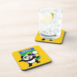 Brazil Volleyball Panda Beverage Coaster