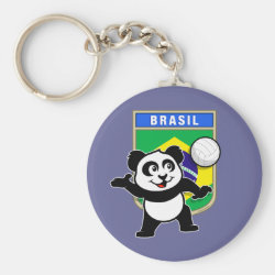 Brazil Volleyball Panda Basic Button Keychain