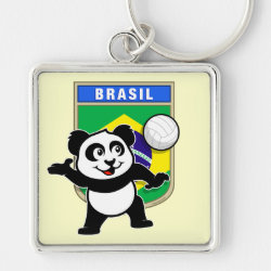 Premium Square Keychain with Brazil Volleyball Panda design