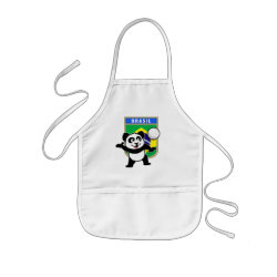 Kid's Apron with Brazil Volleyball Panda design
