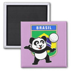 Brazil Volleyball Panda Square Magnet
