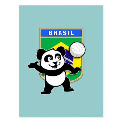 Postcard with Brazil Volleyball Panda design
