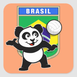 Square Sticker with Brazil Volleyball Panda design