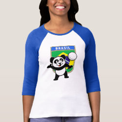 Brazil Volleyball Panda Ladies Raglan Fitted T-Shirt