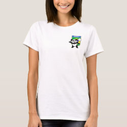 Women's Basic T-Shirt with Brazil Volleyball Panda design