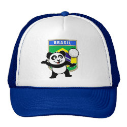 Trucker Hat with Brazil Volleyball Panda design