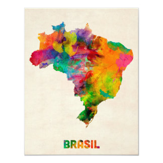 Brazil Watercolor Map Card