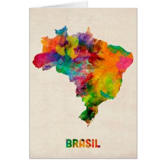Brazil Watercolor Map Card