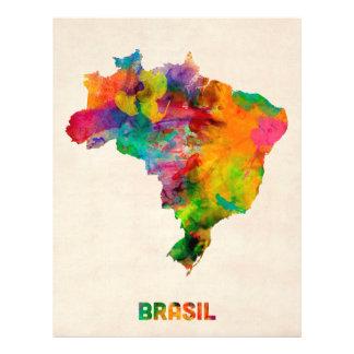 Brazil Watercolor Map Flyer