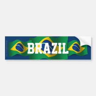 Brazil Waving Flag Bumper Sticker