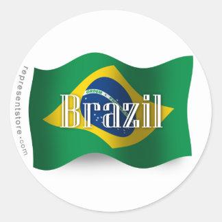 Brazil Waving Flag Classic Round Sticker