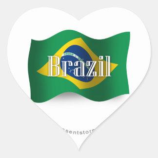Brazil Waving Flag Heart Sticker