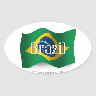 Brazil Waving Flag Oval Sticker