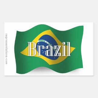Brazil Waving Flag Rectangular Sticker