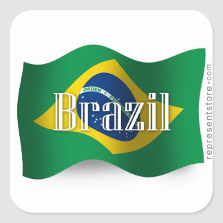 Brazil Waving Flag Square Sticker
