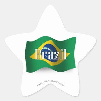 Brazil Waving Flag Star Sticker